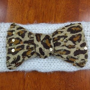 Betsey Johnson Accessories - Betsey Johnson Headband Ear Warmer Leopard Bow